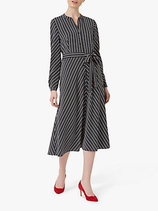Hobbs Tarini Stripe Midi Shirt Dress, Navy/Ivory