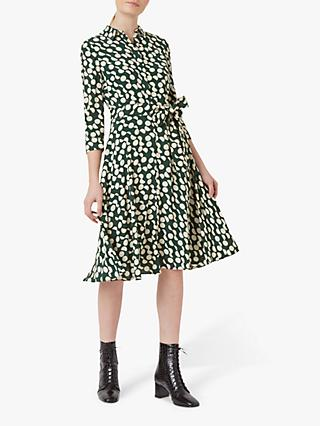 Hobbs Petite Alex Spotted Print Midi Dress, Green Stone