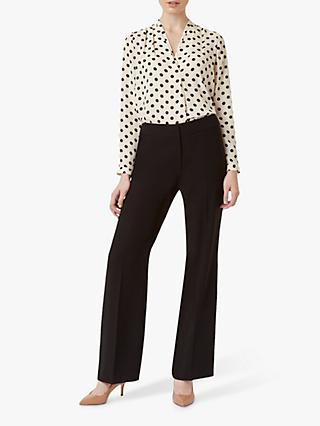 Hobbs Lavina Spot Print Wrap Blouse, Black/Natural