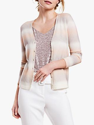 Pure Collection Mother-Of-Pearl Buttons V-Neck Cashmere Cardigan, Ombre Stripe
