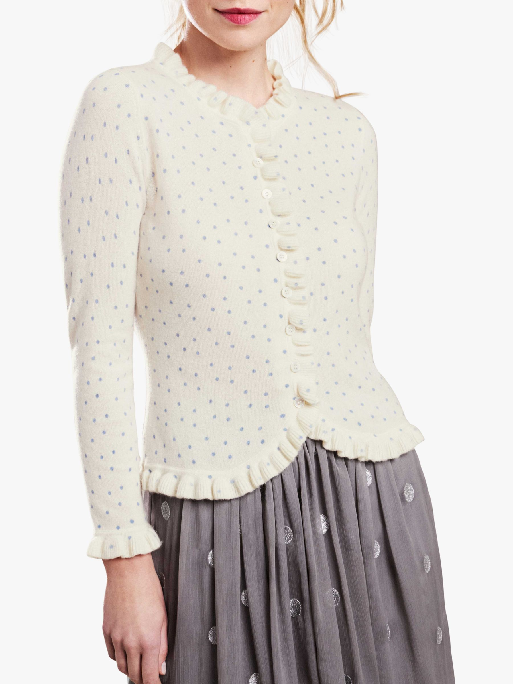 Pure Collection Pure Collection Ruffle Edge Cashmere Spot Cardigan, Soft White/Blue