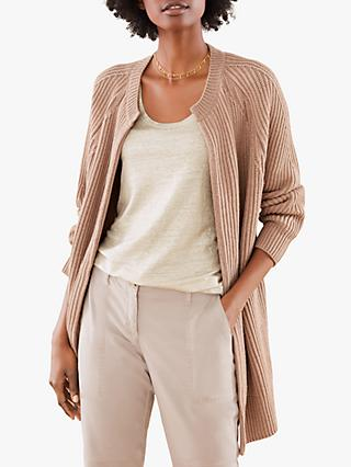 Pure Collection Ribbed Coatigan, Warm Neutral