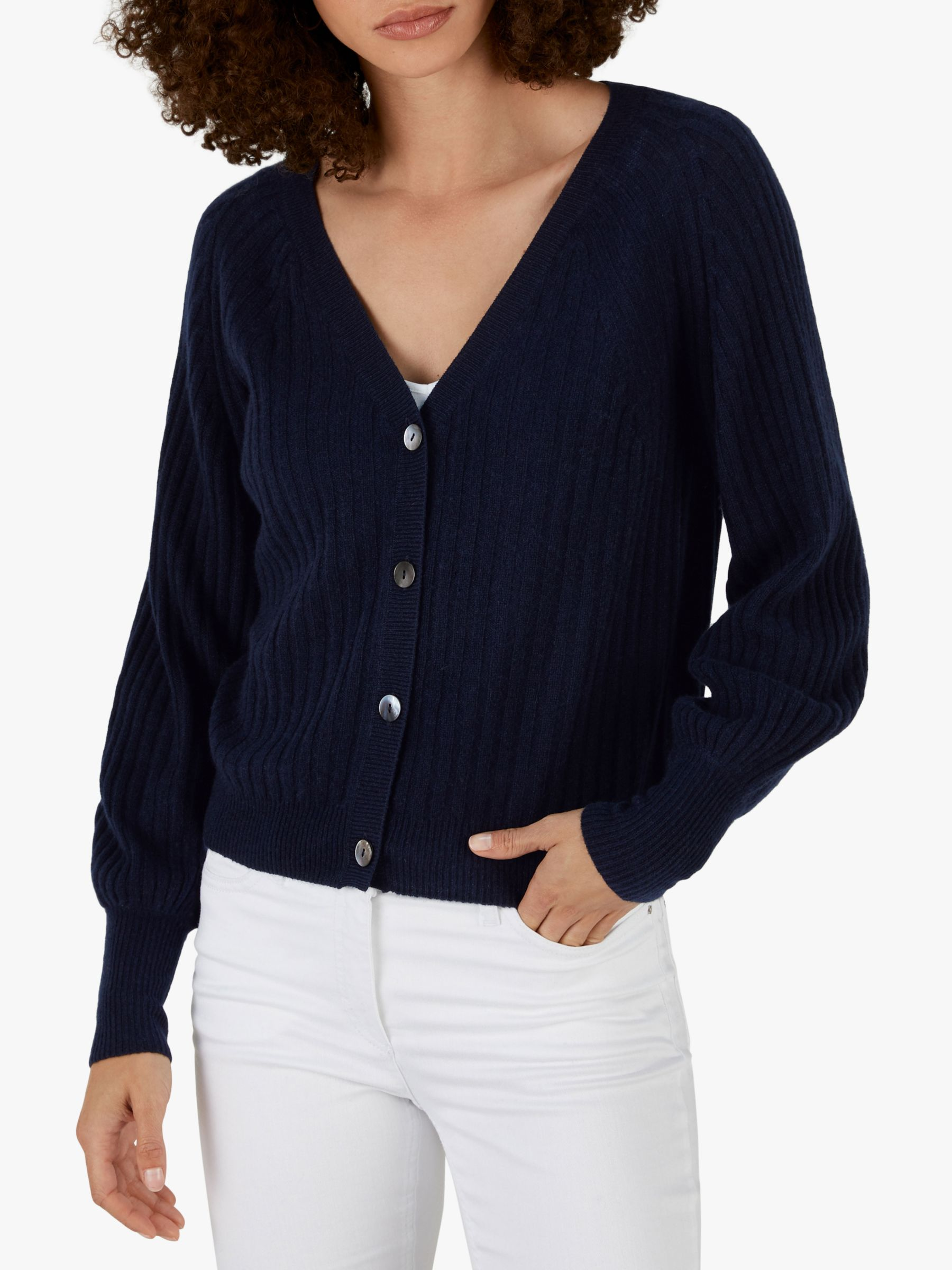 Pure Collection Pure Collection Gassato Cashmere Balloon Sleeve Ribbed Cardigan