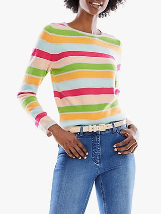 Pure Collection Cropped Cashmere Stripe Sweater, Multi