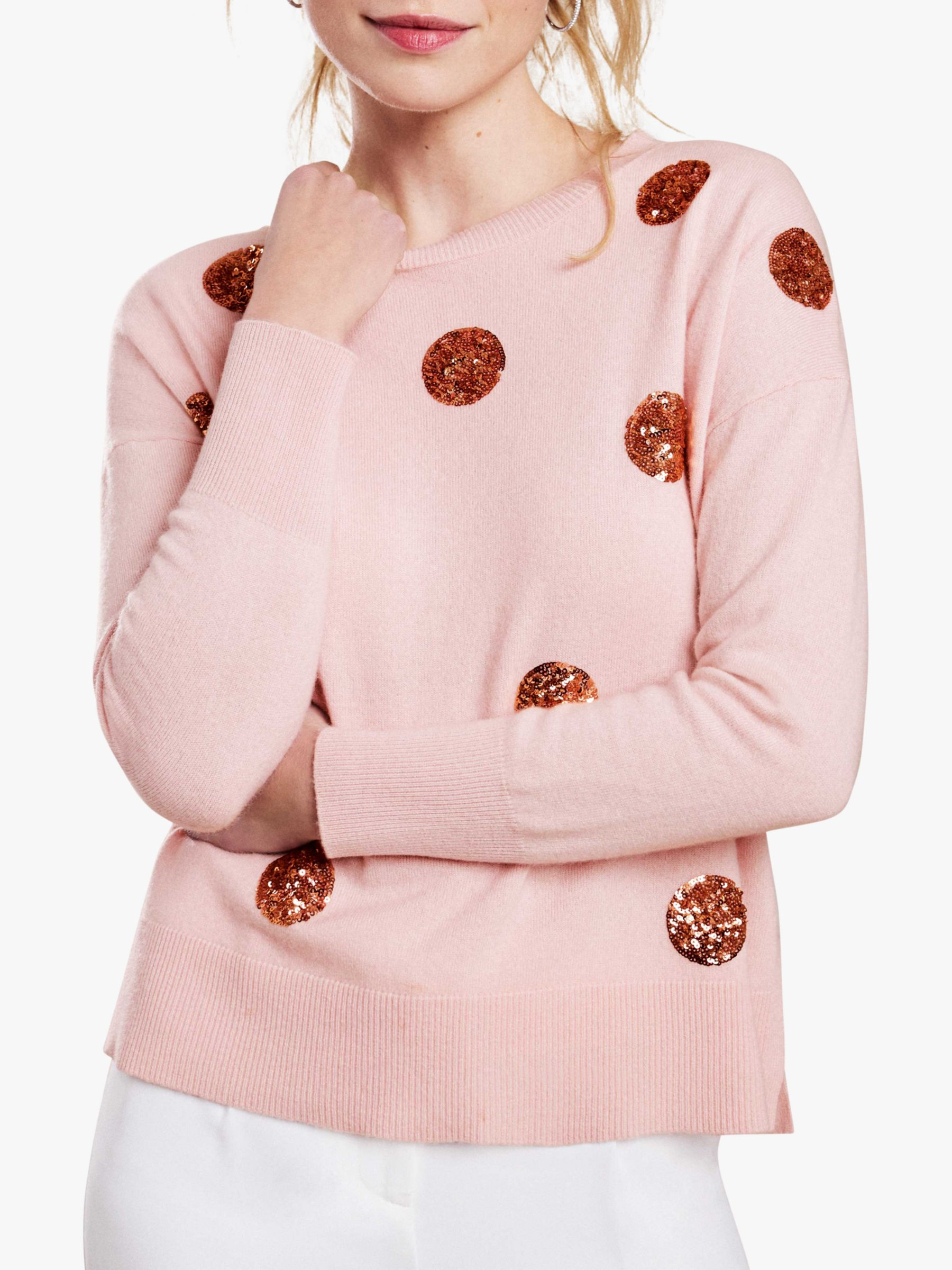 Pure Collection Pure Collection Split Hem Sequin Spot Sweater, Pink/Rosegold