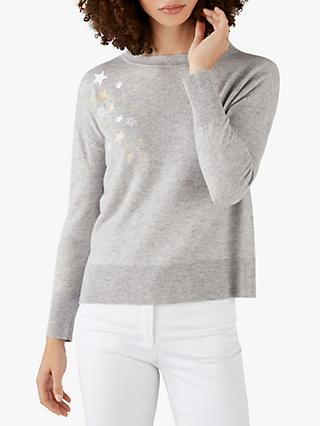 Pure Collection Split Hem Star Sweater, Grey