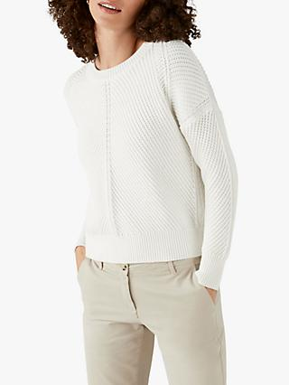 Pure Collection Textured Cotton Jumper, White