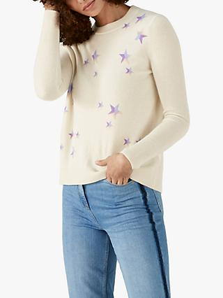 Pure Collection Curved Hem Star Intarsia Cashmere Jumper, White/Multi