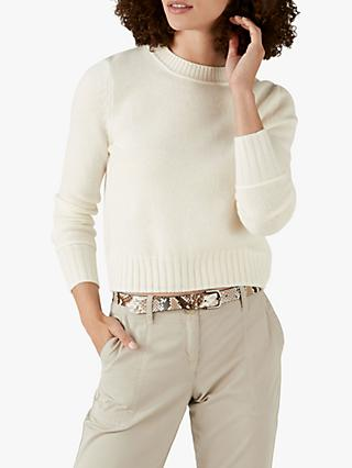 Pure Collection Cashmere Lofty Cropped Sweater, Soft White