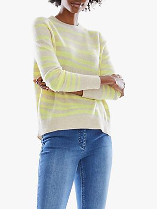 Pure Collection Curved Hem Zebra Intarsia Cashmere Jumper, Yellow