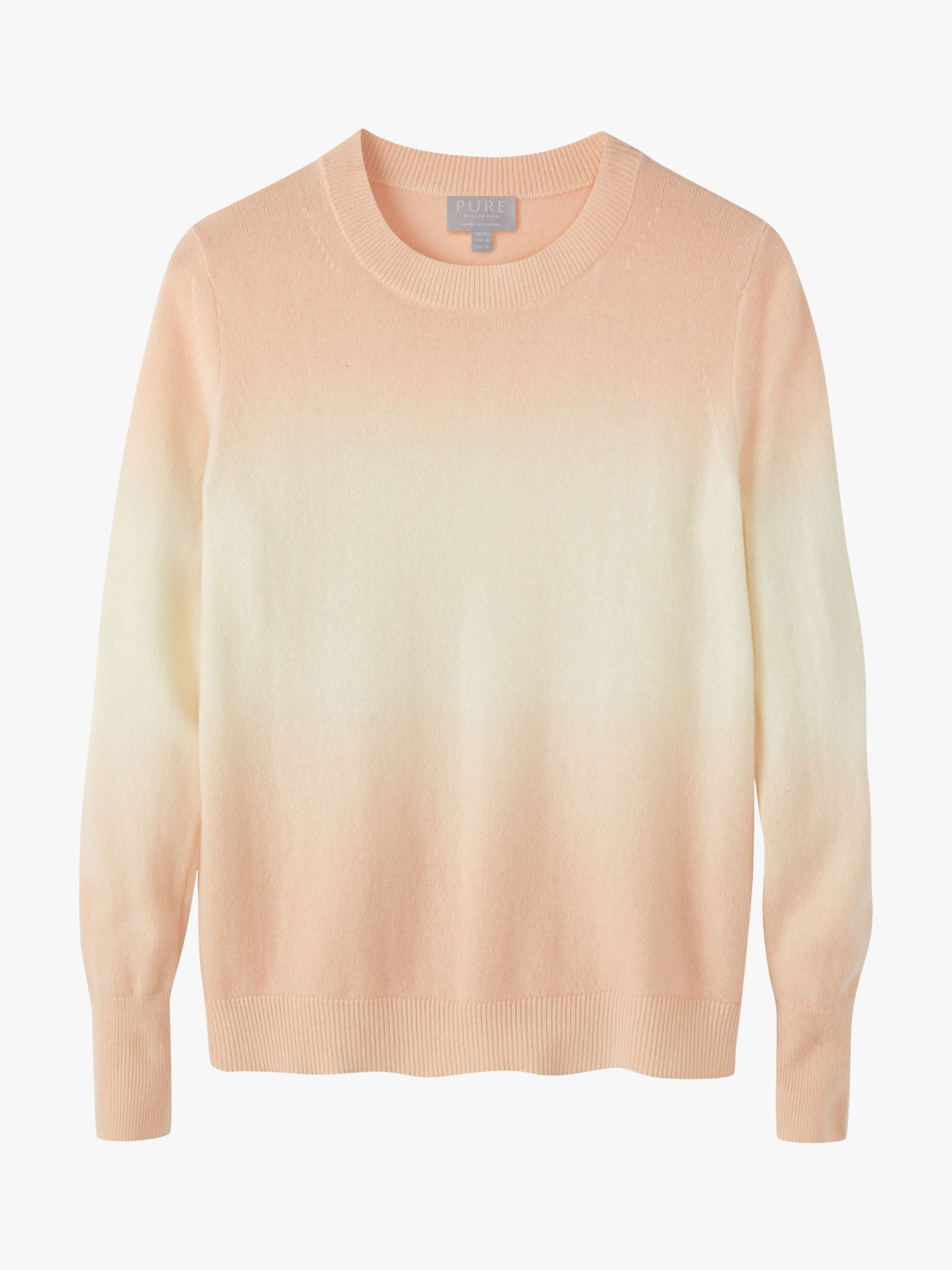 Pure Collection Pure Collection Ombre Curved Hem Cashmere Jumper, Neutral
