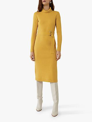 Warehouse Wide Rib Belted Jumper Dress, Yellow
