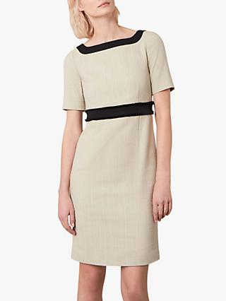 Jaeger Colour Block Boucle Fitted Shift Dress, Beige/Black