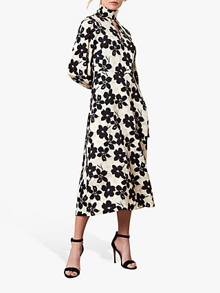 Jaeger Painterly Floral Print Dress, Black/White