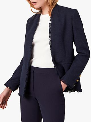 Jaeger Boucle Fringe Jacket, Dark Blue
