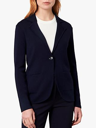 Jaeger Merino Wool Knit Jacket, Dark Blue