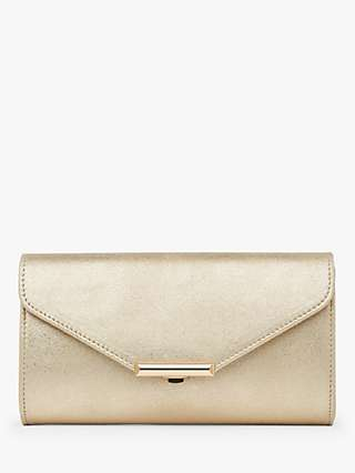L.K.Bennett Lucy Envelope Leather Clutch Bag, Gold
