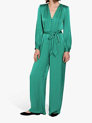 Ghost Poppy Satin Jumpsuit, Riffle Green