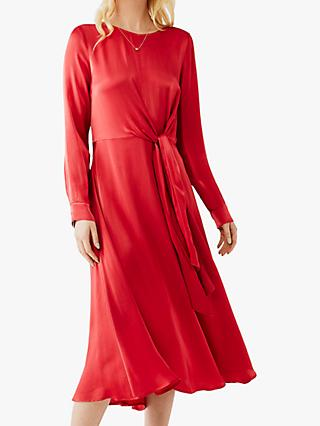 Ghost Mindy Satin Side Tie Dress, Mineral Red