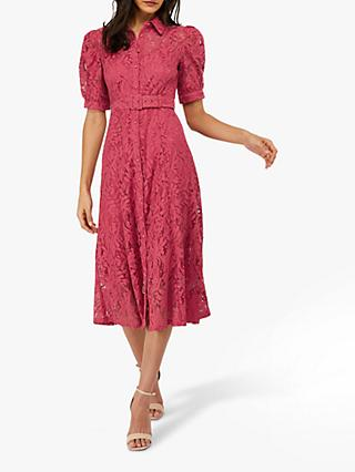 Monsoon Lova Lace Shirt Dress, Pink