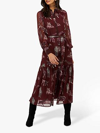 Monsoon Saffy Print Shirt Dress, Berry