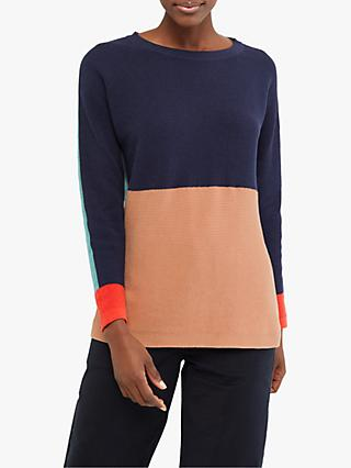 White Stuff Avenue Colour Block Jumper, Navy Mix