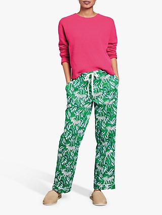 hush Jungle Print Piped Cotton Pyjama Trousers, Green