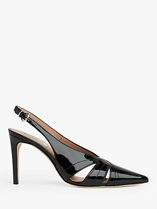 L.K.Bennett Helena Patent Pointed Toe Court Shoes, Black