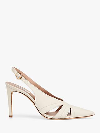 L.K.Bennett Helena Leather Pointed Toe Court Shoes, Off White
