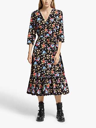 Somerset by Alice Temperley Peruvian Floral Dress, Black/Multi