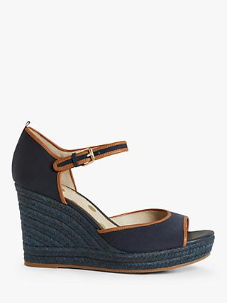 Boden Philippa Wedge Heeled Espadrilles, Navy/Tan
