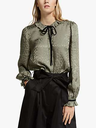 Somerset by Alice Temperley Leopard Jacquard Blouse, Olive
