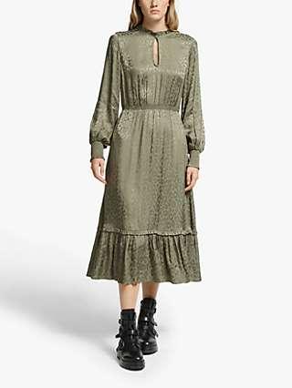 Somerset by Alice Temperley Jacquard Leopard Print Dress, Olive