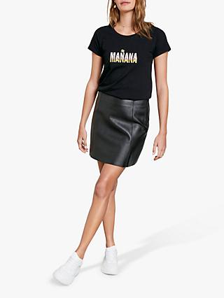 hush Triple Manana Slogan T-Shirt, Black