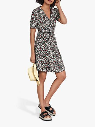 hush Martha Tea Dress, Black/White/Orange