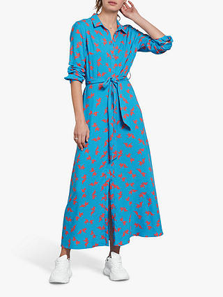 Hush Sophie Blue Bird Print Maxi Shirt Dress