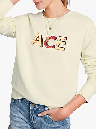 hush Ace Slogan Sweatshirt, Yellow