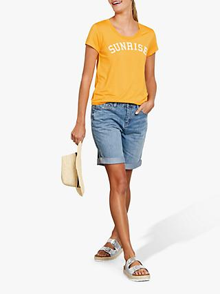 hush Sunrise Slogan T-Shirt, Yellow