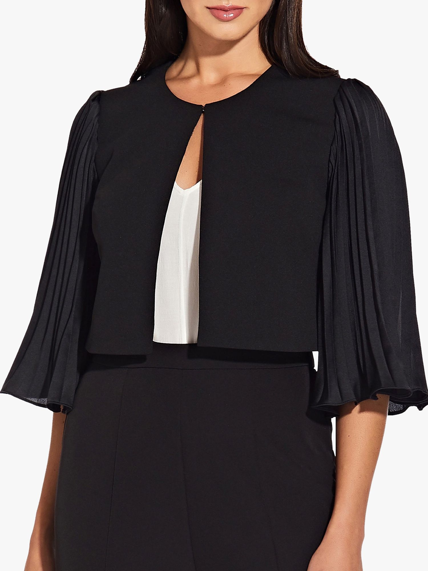 Adrianna Papell Adrianna Papell Pleated Sleeve Cropped Tailored Jacket, Black
