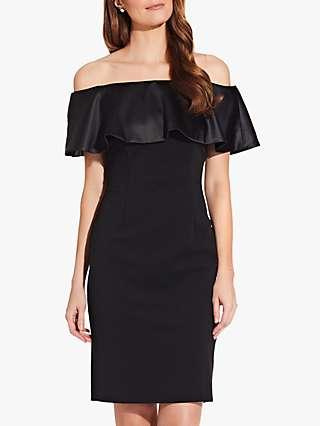 Adrianna Papell Charmeuse Bardot Dress, Black