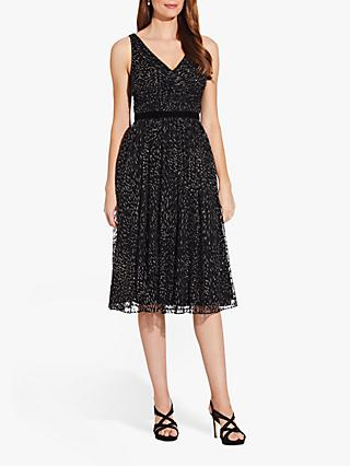 Adrianna Papell Glitter Velvet Midi Dress, Black/Gold