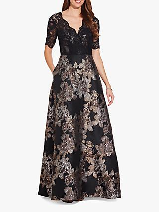 Adrianna Papell Metallic Jacquard Floral Lace Gown, Black/Copper
