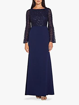 Adrianna Papell Bead Boat Neck Dress, Navy
