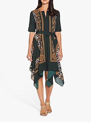 Adrianna Papell Medallion Scarf Dress, Green/Multi
