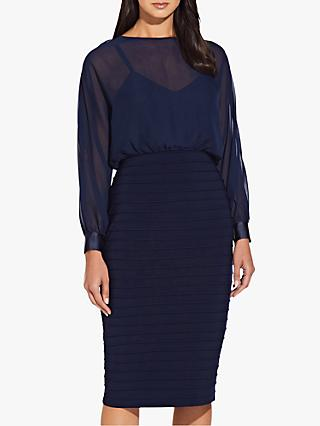 Adrianna Papell Chiffon Blouson Dress, Midnight