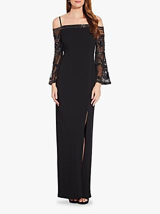 Adrianna Papell Beaded Off Shoulder Maxi Dress, Black