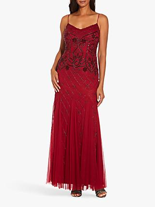 Adrianna Papell Beaded Spaghetti Strap Gown, Cranberry