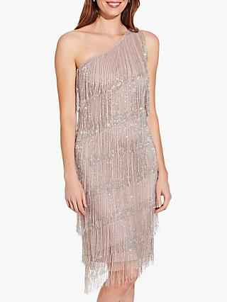 Adrianna Papell Beaded Fringe Dress, Cameo