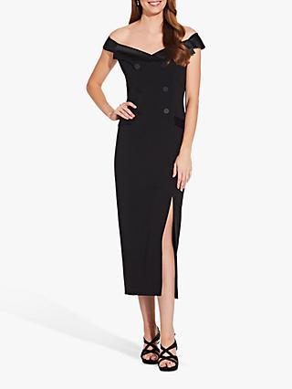 Adrianna Papell Crepe Tuxedo Midi Dress, Black