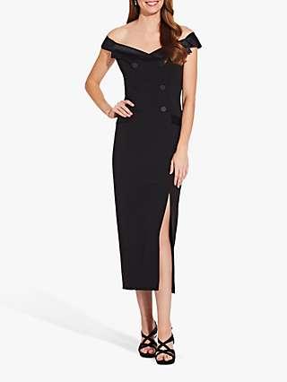 Adrianna Papell Crepe Tuxedo Midi Dress, Black